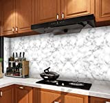 EBuyers 23.6'Wide Marble Paper Kitchen countertop Cabinet Furniture PVC Easy to Remove Without Leaving Mark with Smoothing Tool and Knife (23.6'x118', Marble)