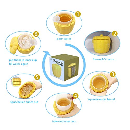 Silicone Ice Bucket for Freezer 60 Ice Cubes - Pumpkin Silicone Ice Cube Maker with Lid Ice Cube Bucket Silicone Ice Cube Trays Bucket for Chilling Drinks and Bottled Beverage   Yellow