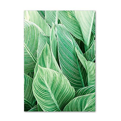 Wall Art Canvas Schilderij Roze Groen Grote Bladeren Planten Foto Woonkamer Woondecoratie -15x23cm Geen Frame