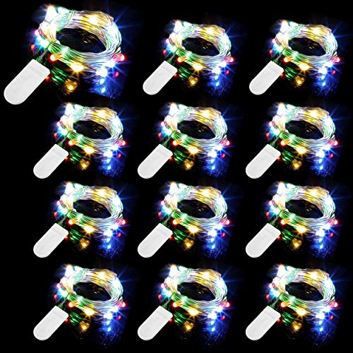 12 Piezas Cadena de Luces con Pilas, 20 LEDs 2M Alambre de Cobre Guirnaldas Luces, IP65 Impermeable Luces Decorativas para Navidad Fiesta Hogar Bodas, Colorido