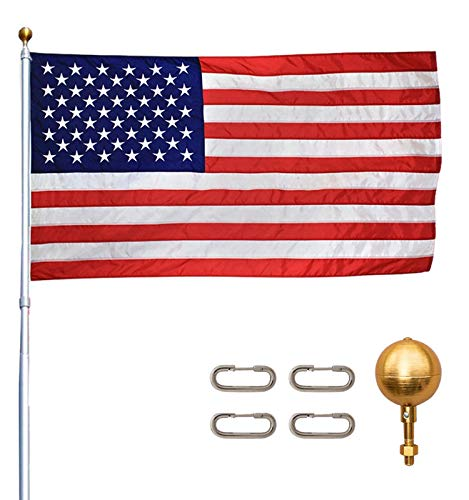 Titan Telescoping Flag Poles, 20ft Silver – Heavy Duty Flag Pole Kit, Includes Aluminum Telescoping Flag Pole, 4 x 6 American Flag, Hardware for 2 Flags and Detailed Installation Instructions