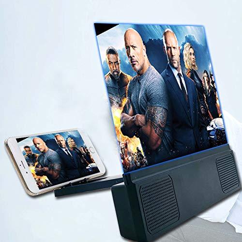 Huanxin Amplificador de pantalla de teléfono de 12 pulgadas con altavoz Bluetooth, pantalla magnética, luz azul, lupa HD para smartphones