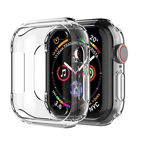 iVoler 3 Pezzi Cover per Apple Watch 44mm Series 4 / Series 5 Custodia, Case in Morbido Silicone di Gel AntiGraffio in TPU Ultra [Slim Thin] Protettiva - Trasparente