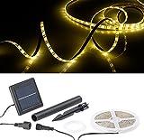 Lunartec LED Band Solar: Solar-LED-Streifen mit 180 warmweißen LEDs, 3 m, wetterfest IP65 (LED Streifen aussen Solar)