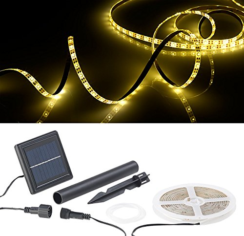 Lunartec LED Band Solar: Solar-LED-Streifen mit 180 warmweißen LEDs, 3 m, wetterfest IP65 (LED Lichtband außen Solar)
