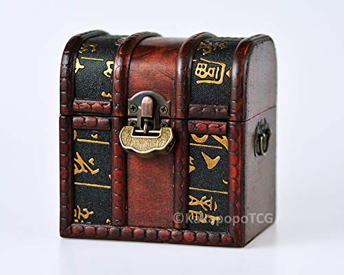 KakapopoTCG The Elven Chest (Ancient Scroll): a Lockable Wooden Dice Box with Double compartments for Storing DND Dice Set, Spell Cards, Dice Collection Storage, Dice Bag, Dice Valut, Chest
