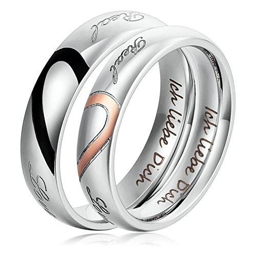 1 Paar Verlobungsringe Edelstahl Ringe für Damen und Herren Silber Ich liebe Dich Herz Puzzle Ringe Mit Ihre Laser Gravur Damen 54 (17.2) & Herren 57 (18.1)