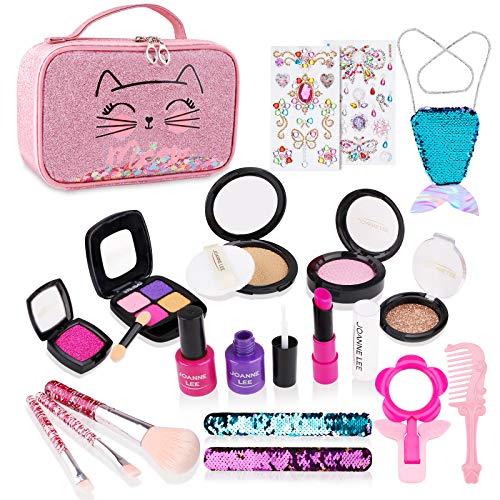 FancyWhoop Kinderschminke Set Mädchen 21 Stück Waschbar Schminkset Rollenspiel Spielzeug Mit Kosmetiktasche Makeup Set Simulationskosmetikset