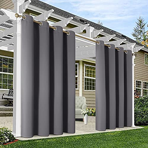 HAKUNA 2 Panels Grey Outdoor Curtains for Patio Waterproof, 52 x 96 Inch Blackout Patio Curtains for Outdoor, Thermal Insulated Gray Porch Curtains Outdoor for Patio, Pergola, Yard, Garden, Pool