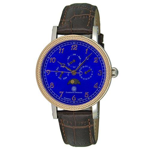 Constantin Durmont Herren Analog Quarz Uhr mit Leder Armband CD-SANJ-QZ-LT-STRG-BL