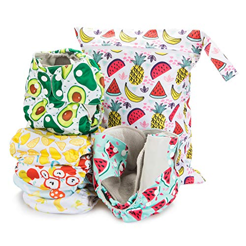 Simple Being Reusable Cloth Diapers- Double Gusset-6 Pack Pocket Adjustable Size-Waterproof Cover-6 Inserts-Wet Bag (Foodie)