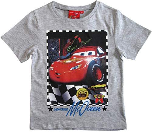 Cars Disney 3 T-Shirt Kurz Lightning McQueen Jungen (Grau, 122-128)