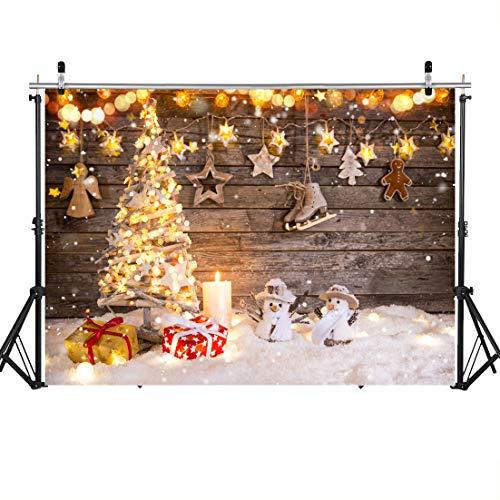 LYWYGG 7x5FT Fondo de Navidad Fondo de árbol de Navidad Dorado Fondo de Muñeco de Nieve Fondo de Tablones de Madera Telones de Fondo de Navidad para Fotografía CP-207