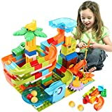 Lekebaby DIY Marble Run Building Blocks Set for Kids, 150 PCS Classic Big Blocks, DIY Marble Maze Race Track Compatible with All Major Brands Various Track Models for Boys Girls Aged 3,4,5,6,8