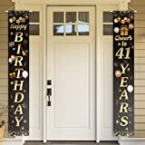 PAKBOOM Happy Birthday Cheers to 90 Years Black Gold Yard Sign Door Banner 90th Birthday Decorations Party Supplies