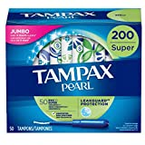 Tampax Pearl Tampons with Plastic Applicator, Super Absorbency, 200 Count, Unscented (50 Count, Pack of 4 -...