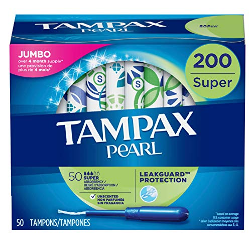 Tampax Pearl Tampons with Plastic Applicator Super Absorbency 200 Count Unscented 50 Count Pack of 4  200 Count Total