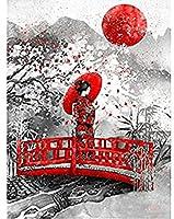 QMGLBG 1000ピースの木製パズル 赤い月と女性の創造的な木製パズル大人の減圧レジャー子供の教育工芸品