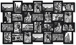 Adeco PF0553 28-Opening Black Wood Basket-Weave Design Wall Hanging Collage Photo Frame, 4 by 6