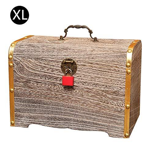 Preisvergleich Produktbild precauti Sparschwein aus massivem Holz Retro Organizer Box Case,  Holz Spardose mit Schlüsseln Kinder Innovative Änderung Sparschwein für Kinder