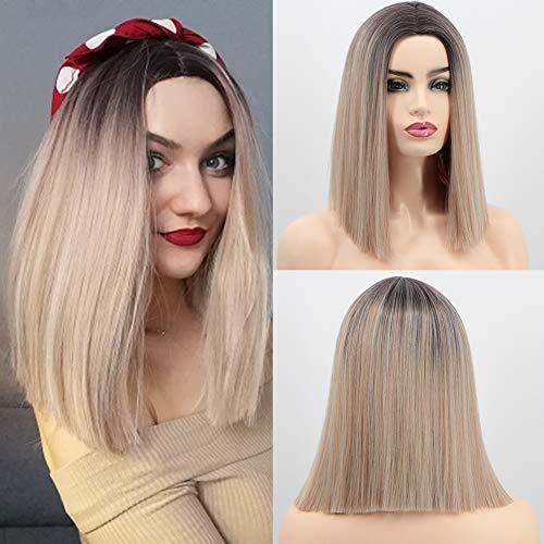 Perruque courte blonde ombrée avec racines foncées - Cheveux soyeux et lisses - Cheveux synthétiques résistants à la chaleur - 35,6 cm