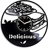 SKYTY Yummy Food Reloj De Pared De Vinilo-Reloj De Pared De Vinilo Retro con Registro De Regalo Fresco Decoración del Hogar-con Luz Led