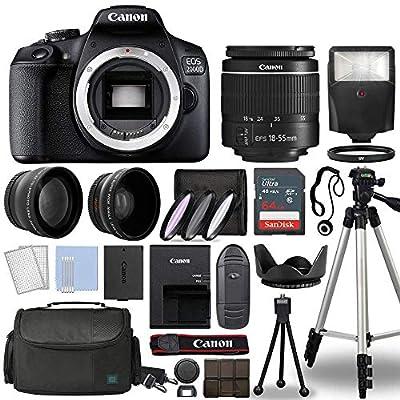 Canon EOS 2000D / Rebel T7 Digital SLR Camera Body w/Canon EF-S 18-55mm f/3.5-5.6 is STM Lens 3 Lens DSLR Kit Bundled with Complete Accessory Bundle + 64GB + Flash + Case & More - International Model