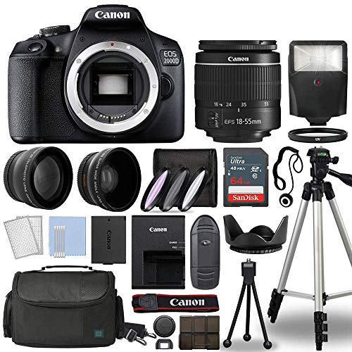 Canon EOS 2000D / Rebel T7 Digital SLR Camera Body w/Canon EF-S 18-55mm f/3.5-5.6 Lens 3 Lens DSLR Kit Bundled with Complete Accessory Bundle + 64GB + Flash + Case & More - International Model
