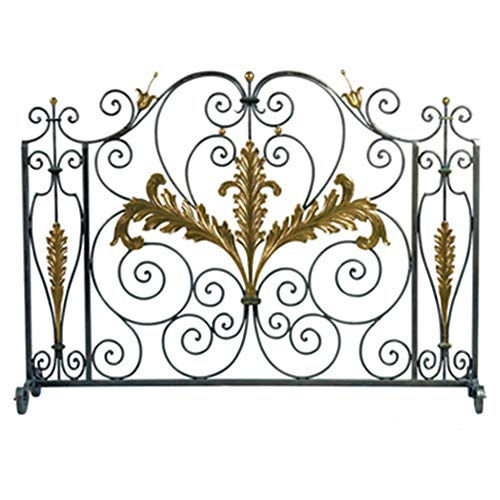 Spark Guard Single Panel 39x29in Wrought Iron Fireplace Screen for Living Room - Scroll Decor Safety Spark Guard Cover, Baby Safe Heater Fence, Black