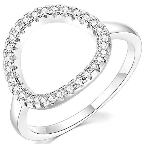 Jude Jewelers - Anillo de pedida modelo Karma con diseño de círculo abierto en tonos oro rosa y plata.