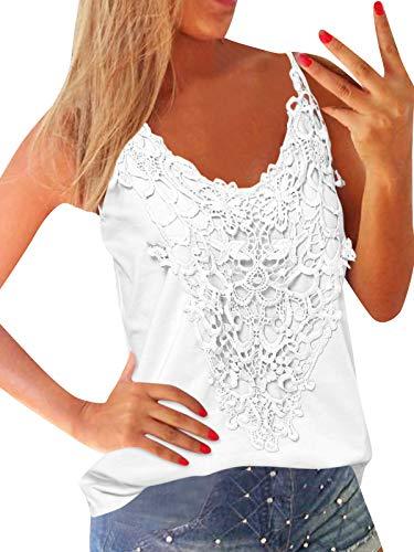 ZANZEA Damska bluzka bez rękawów, dekolt w kształcie litery V, top z koronką, kamizelka na lato, na plażę