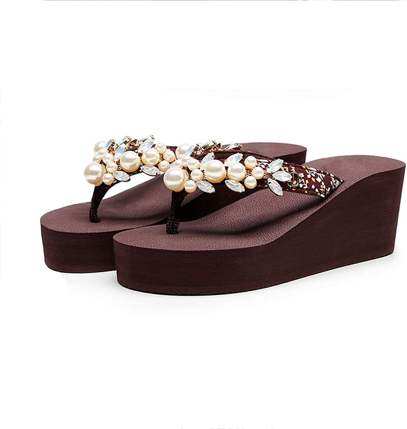WANGFANG Sandals Women's Slippers, Summer Pearl Chain Non-Slip Platform Thong Style Sandals Wedge Slippers Beach Slippers, Three colors (color   Brown, Size   US6 EU37 UK4 MX3.5 CN37)