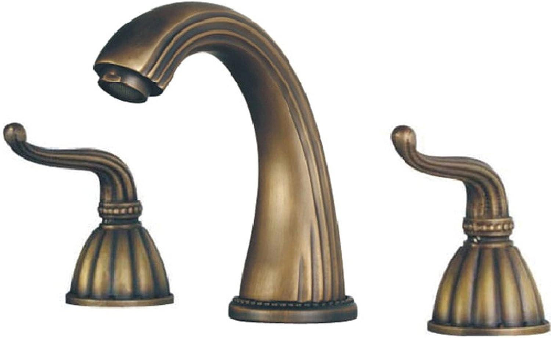 LHbox Basin Mixer Tap Bathroom Sink Faucet Antique Faucet European classical idyllic greenAntique three hole basin faucet, B