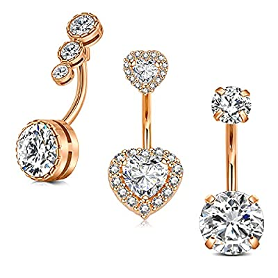 """MODRSA Navel Belly Button Rings Surgical Stainless Steel 14G CZ Small Ombligo Piercing Barbell Body Jewelry for Women Girls 3/8"""" 10mm Rose Gold Silver Pack"""