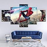 ZDDBD Lienzo 5 Cosas Pintura Lienzo Arte Imagen Spiderman Lienzo Pintura Cuadros película Cartel impresión Sala de Estar Cuadros Lienzo Pintura Arte