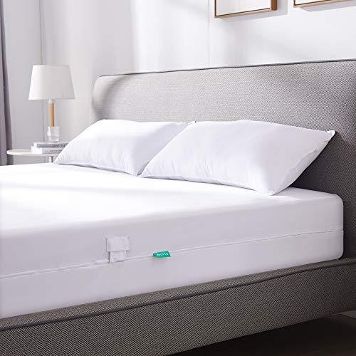 UTTU Funda de colchón impermeable 100 x 200 cm, elástica, antiácaros, con cremallera en los 4 lados, funda de colchón para 15-20 cm de profundidad