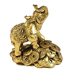 A proud elephant standing on top of money. It symbolizes power, wisdom, strength, fertility, protection of the home!! Antique style statue with the trunks facing upwards to represent prosperity, good luck, and success!! Decorative statue to put in of...