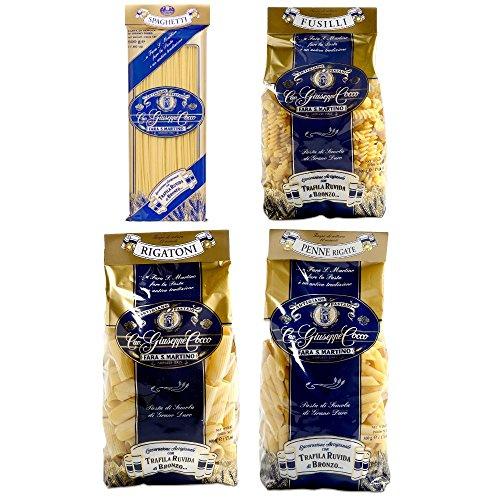 Pasta Cocco - 4 Pacchi Assortiti da 500 Gram - Spaghetti, Penne Rigate, Rigatoni e Fusilli - Cavalier Giuseppe Cocco Fara San Martino Abruzzo - Artigiano Pastaio