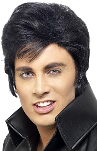 Mens Fancy Dress Party Film & Tv Elvis Pruik Volwassenen Club & Party Wear Zwart