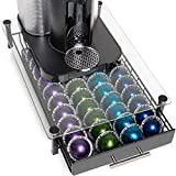 Nook & Niche brand Premium Glass Stand with Pod Drawer - For Nespresso VertuoLine and VertuoPlus Coffeemakers - (Stand is improved 2020 model. Capsules not incl.)