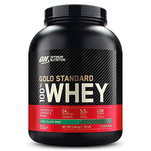 Optimum Nutrition ON Gold Standard 100% Whey Proteína en Polvo, Glutamina y Aminoácidos Naturales, BCAA, Chocolate y Menta, 73 Porciones, 2.26kg, Embalaje Puede Variar