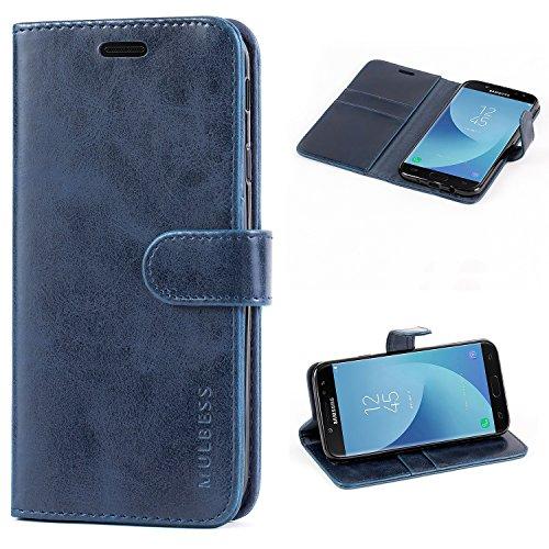 Mulbess Handyhülle für Samsung Galaxy J7 2017 Hülle, Leder Flip Case Schutzhülle für Samsung Galaxy J7 2017 Duos Tasche, Dunkel Blau