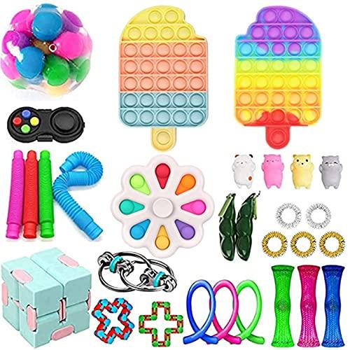 PENTELAV Fidget Toys Anti Stress Spielzeug Set, Fidget Spielzeug Set,Sensory Toys with Push-Pop Pop Bubble für Stressabbau und Anti-Angst for Children or Adults (Pop Fidget Toy-33, One Set)