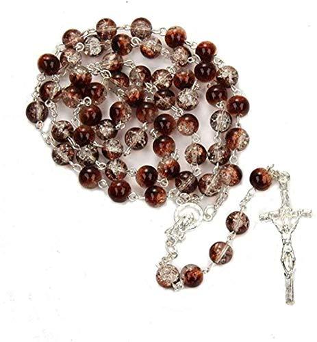 Yiffshunl Collar Mujer Collar 2020 catolicismo Collar joyería Mujer Hombre San Jesús Collar de Cuentas Gota rosarios Cruz Centro