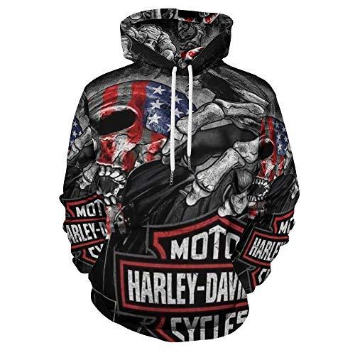 Harley Davidson Felpa con cappuccio a maniche lunghe con cappuccio e tasca con cappuccio casual caldo bianco-Style1 XL