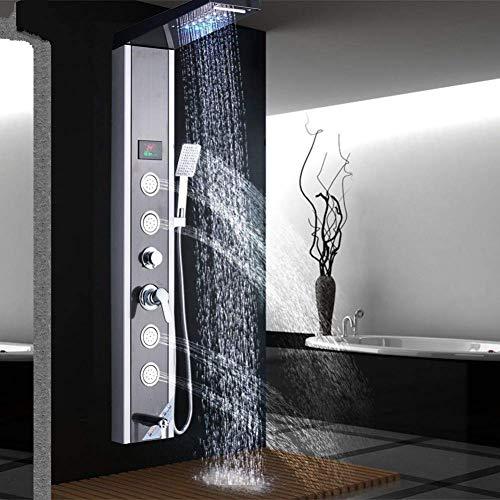 BINGFANG-W 10 pulgadas incorporado en el conjunto mezclador de la ducha, montado en la pared, mezclador de la ducha, con ducha de mano en negro Ducha