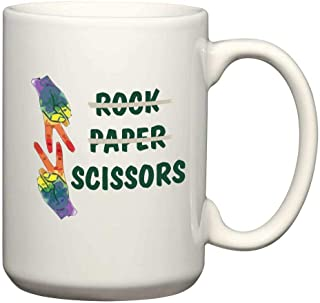 Rock Paper Scissors Lesbian Pride Mug 15 Oz White