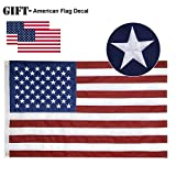 Losong American Flag 3x5 ft -Made in America | Embroidered Stars Sewn Stripes Brass Grommets, Fade Resistant Oxford Cloth and Double-Stitched Edges | Heavyweight Outdoor US Flag with 2 USA Flag Decals