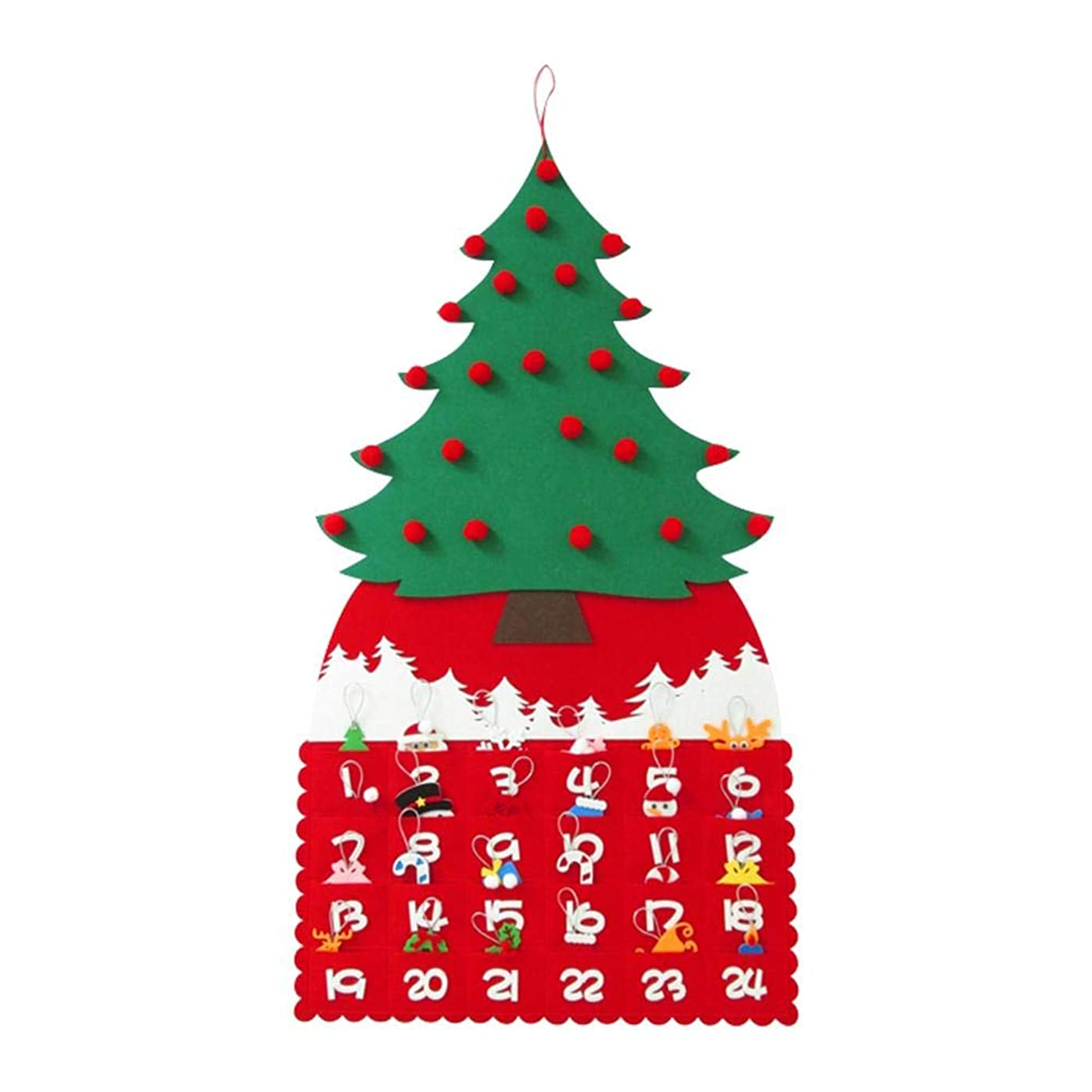 歌手委任ポータルクリスマスカレンダー アドベントカレンダー クリスマスの装飾 カウントダウンカレンダー 子供 ギフト クリスマスツリーの3D赤いボール 休日の装飾のための掛かる装飾を感じ 絶妙さと美しさの贈り物52 cm x 95 cm
