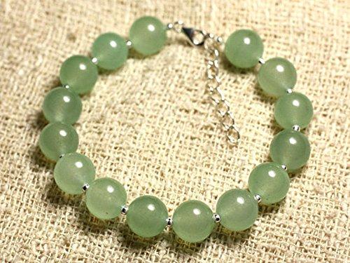 LOVEKUSH Pulsera redonda de plata de ley 925 al por mayor de 10 mm de jade verde verde y liso, 19 cm para hombres, mujeres, gf, bf y adultos.